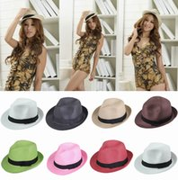 Wholesale Trendy Unisex Straw Panama Fedora Hats Summer Stingy Brim Unisex Casual Beach Travel Caps Mix Colors Choose ECP