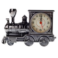 Wholesale 2015 Archaize Antiqu Train Locomotive Retro Alarm Clock Birthday Gifts For Children Collegue Classmate Desk Table Classic Decoration