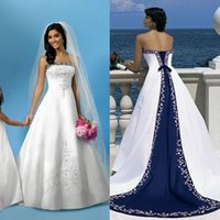 Wholesale Excellent Quality Bridal Dresses Plus Size Custom Made Stain Embroidery Women Bandage Back Floor Length Blue And White Wedding Gowns
