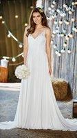 amelie wedding - Bridal Gowns Modified A Line Spaghetti Strap V Neckline Beach Wedding Lace Embroidery Bodice Amelie Sweep Train Wedding Dress Custom