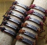 al por mayor pulseras al por mayor amor-Venta al por mayor Pulseras Multi Layer trenzado de cuero hechas a mano de combinación de patrones pulseras coloridas del encanto I LOVE JESUS