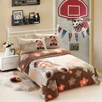 bedroom linen sets - Kids cartoon bedding sets boys girls twin size doona quilt duvet cover designer cotton bed sheets bedspread bedroom linen Monchhichi