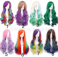 Wholesale 2016 New popular Fashionable Gradient color Wavy hair volume Style bangs long hair Cosplay lolita Wigs RK3453