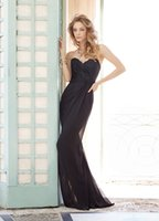 Cheap Cheap Black Lace Bridesmaid Dresses Pleats Sweetheart Neckline Zipper Back Long Floor Length Prom Gown Mermaid Chiffon Evening Dress