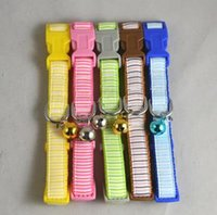 Wholesale Pepts Dog Cat Collars Plaid Nylon Buckle W Bells Colors Pet Supplies