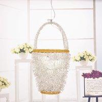 aluminum wire basket - Modern fashion pendant light led personality silver gold aluminum wire lamp bird nest flower basket egg bedroom child light