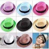 Cheap 200pcs lot Fashion Womens Mens Unisex Fedora Trilby Gangster Cap Summer Beach Sun Straw Panama Hat Couples Lovers Hat 0914#14