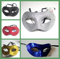 Wholesale 5 color Electroplate Gold powder Flat head mask Masquerade Mardi Gras Venetian Halloween Prom Dancing Party Mask
