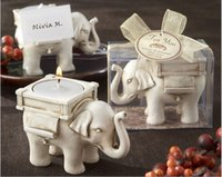 candles and candle holders - New Lucky Elephant Candle Holder with Card for Wedding Favors Lucky Elephant Antique Ivory Tea Light Candle Holders Best gifts for guests