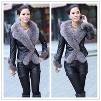Wholesale 2014 New Fashion Women PU Leather Jackets Long Sleeve Fur Curf Fur Collar Black Faux Leather Motorcyle Jackets Faux Fur Coats