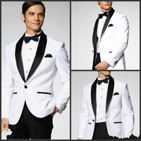 Wholesale Two Piece Custom Made Generous Classic White One Button Groom Tuxedos Groomsmen Best Man Suit Mens Wedding Suits Jacket Pants Tie