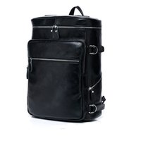 bag equipment - Unisex backpack Full Grain Leather Black Hiking Mountaineering Backpacks quot Travel Laptop Bags Camping Equipment large capacity backpack