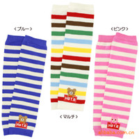 baby crawling socks - Multicolor striped cotton children s cartoon bear sock kneepad set of colored knitted cotton socks crawling baby