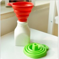 Wholesale DHL Kitchen Gadgets Tool accessories Silicone Collapsible Style Funnel Mini Foldable Folding Portable