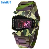 aircraft pin - SYNOKE Best Boys Led Digital Watch For Men And Women Camouflage Aircraft Modeling Student Electronic Watches Seven Color Led