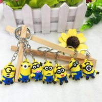 Wholesale 2015 NEW D Despicable Me Minion Action Figure Cartoon Keychains Keyring Key Ring keyfob Cute Promotion Gifts Card Package CHR