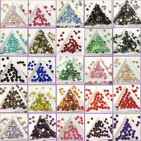 Wholesale 2mm mm mm mm mm MIX MANY COLORS Resin Non HotFix FlatBack Rhinestones Glue On Nail Crystals Stones