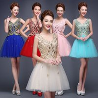 Wholesale 2016 Shimmery Gold Blush Beads Crystals Homecoming Dresses A Line Lace V Neck Sleeveless Short Mini Graduation Cocktail Dress Under