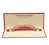 Wholesale Three dimensional paper carving manual creative Christmas gift card d Sydney bridge postcards custom birthday greeting card