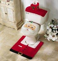 35.5cm*43cm 57.5cm*55cm 38cm*20cm*16cm Three-piece Set Christmas Decorations Happy Santa Toilet Seat Cover And Rug Set Bathroom Innovative Item