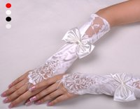 Wholesale Stocks quot White beige Satin Beaded Lace Opera Wedding Gloves Bridal Gloves Hot Sale Top Quality ST011