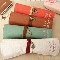 pencil holder - Fantastic HOT Canvas Bag Holder Wrap Roll Up Stationery Pen Brushes Makeup Pencil Case Pouch HR