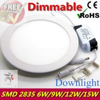 adjustable ceiling light - Dimmable Ultra thin Design W W W W LED SMD Ceiling Recessed Grid Downlight Slim Round Flat Adjustable Panel Light