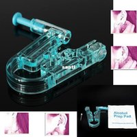 body piercing kit - Women No Pain Ear Piercing Kit Disposable Safe Sterile Body Piercing Gun Stainless Steel Stud Alcohol Prep Pad