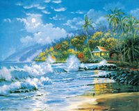 beach settings - New DIY D Diamond Painting Rhinestones In Settings Hand Embroidery Cross Stitch Square Full Diamond Palm Beach waves bluesky