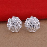 Cheap Foreign trade jewelry plated 925 sterling silver earrings Rose temperament small ears popular Korean wholesale