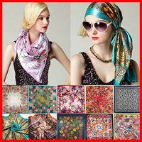 Printed silk fashion square scarf - 2015 New style Women Fashion Brand High Quality Scarves Silk Satin Scarves Polyester Shawl Hijab Ladies Silk Square Scarf Size x90cm