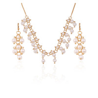 Wholesale Pearl Necklace Earrings k gold plated Copper Jewelry Sets For Women Elegant Xuping New fashion Jewelry