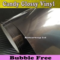 airs candies - Midnight Candy Gloss Grey Vinyl Car Wrapping Film With Air Release Metallic Antrazit Glossy Car Wrap Styling sticker SIZE M Roll