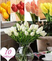 silk tulips - HOT NEW pu mini tulip flower real touch wedding flower artificial flower silk flower home decoration