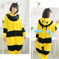 Wholesale Hot sell Christmas New Year gift warm Bee animal cartoon onesies pajamas cute couple coral flannel unisex Cosplay Costume