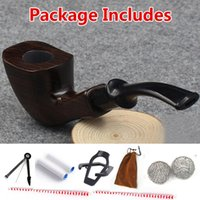 wooden smoking pipe - Hot Handmade ebony filter pipe tobacco smoking accessories Bent Style W Gift box wooden Smoke pipe filter cigarette holder