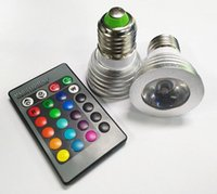 Wholesale 3W LED RGB Bulb Color Changing W LED Spotlights RGB led Light Bulb Lamp E27 GU10 E14 MR16 GU5 with Key Remote Control V V