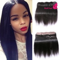 brazilian lace closure - Lace Frontal Closure Free Part Human Hair Extensions A Brazilian Straight Hair x2 Closure Bundles With Baby Hair
