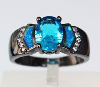 big centre - Mystic Black Gold Plated Blue Fire Opal Rings Jewelry with Big Centre CZ stones