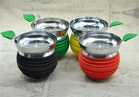 achat en gros de apple gardien-Unbreakable APPLE Silicium Shisha Bowl Hookah Bowl avec le support de charbon de bois hookah tête de charbon de bois poêle brûleur gardien de chaleur accessoires