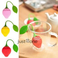 bamboo leaf tea - New Fashion Strawberry Style Loose Tea Leaf Filter Strainer Herbal Spice Infuser