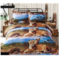 Wholesale Luxury D Printed Bedding Set Lion Pattern Queen Size Duvet Cover Bed Sheet Pillowcases Home Textiles Bedclothes set order lt no trac