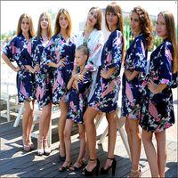 bathrobes - 2015 Bathrobe Silk Wedding Robes Satin Robes For Women Womens Pijamas Animal Short Kimono Robe Silk Dressing Gowns