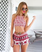 Cheap EBAY AliExpress Hot summer baby elephant red print pattern lace wrapped chest shorts suit two sets
