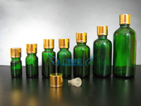Wholesale 20ml bottle green glass drops of essential oil bottle stopper Essence bottle gold foil cover