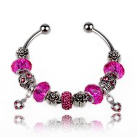 Wholesale 12 Rose Pink Blue NEW HOT Sale Charm Bracelet w Murano Glass Beads Fit for Dora Bangle Bracelets
