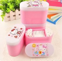 Wholesale Sweet Pink Hello Kitty Storage Box with Cotton Swab Cotton Pads Makeup Cotton Stickers Ear Cleaning Cotton Buds KCS