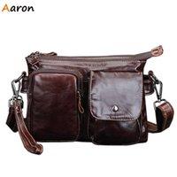 aaron hands - Aaron Casual Two Layers Men s Leather Messenger Bag Men s Handbag With Hand held Belt Small Shoulder Bag With Hasp