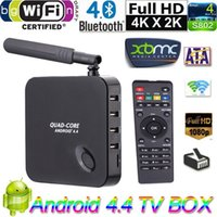 Wholesale Rockchip Quad Core New F6 Android TV box GHZ G G ROM H XBMC DLNA Wi Fi Bluetooth IR D Smart Media Player