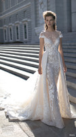 Wholesale 2016 berta bridal over skirts wedding dresses cape sleeves lace wedding gowns illusion neckline chapel train embroidery bridal gowns